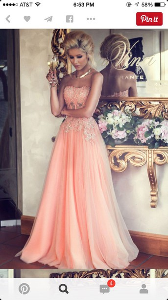 dress light pink dress prom dress coral dress a line dress chiffon dress lace