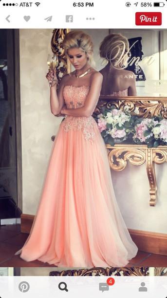dress light pink dress prom dress coral dress a line dress chiffon dress lace