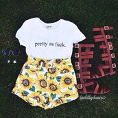 shorts,sunflower,shirt,shoes,t-shirt,top,floral,sunnies