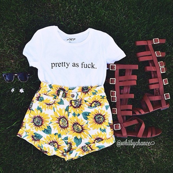shorts sunflower shirt shoes t-shirt top floral sunnies sunflower