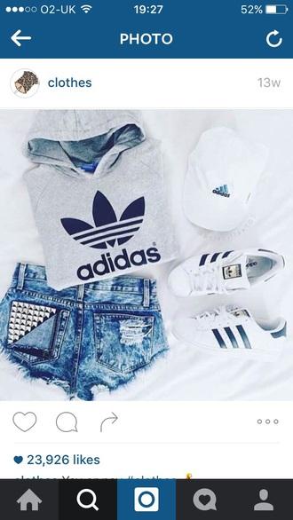 shorts mxlisa.xo adidas adidas shoes adidas superstars adidas originals adidas sweater tumblr sporty cute casual chic cap outfit
