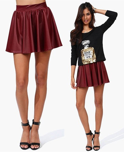 Burgundy Red Flowy Faux Vegan Leather Skater Skirt Elastic Waist Mini Edgy | eBay