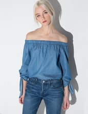 top,chambray sleeve tie off the shoulder top,chambray off the shoulder top,sleeve tie top,leandra medina,tibi,off the shoulder,chambray