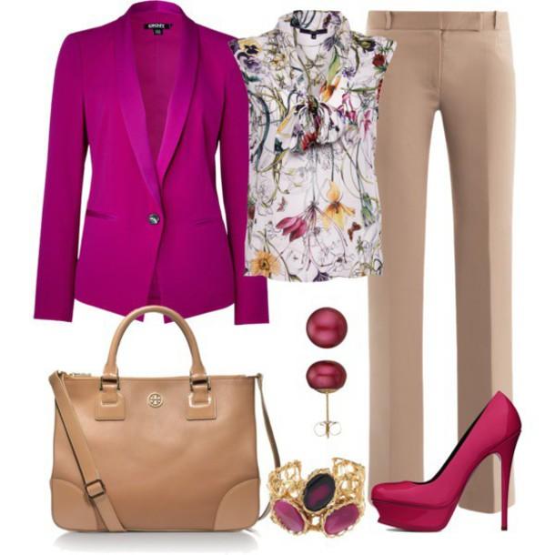blouse pumps ring pants handbag jacket earrings shoes pants