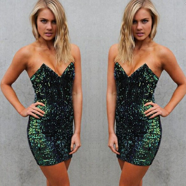 Sexy v collar sequined dress bb1028ba