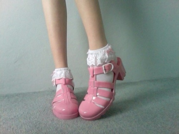 shoes pink sandals pink shoes jelly shoes lace ankle socks ankle socks lace socks