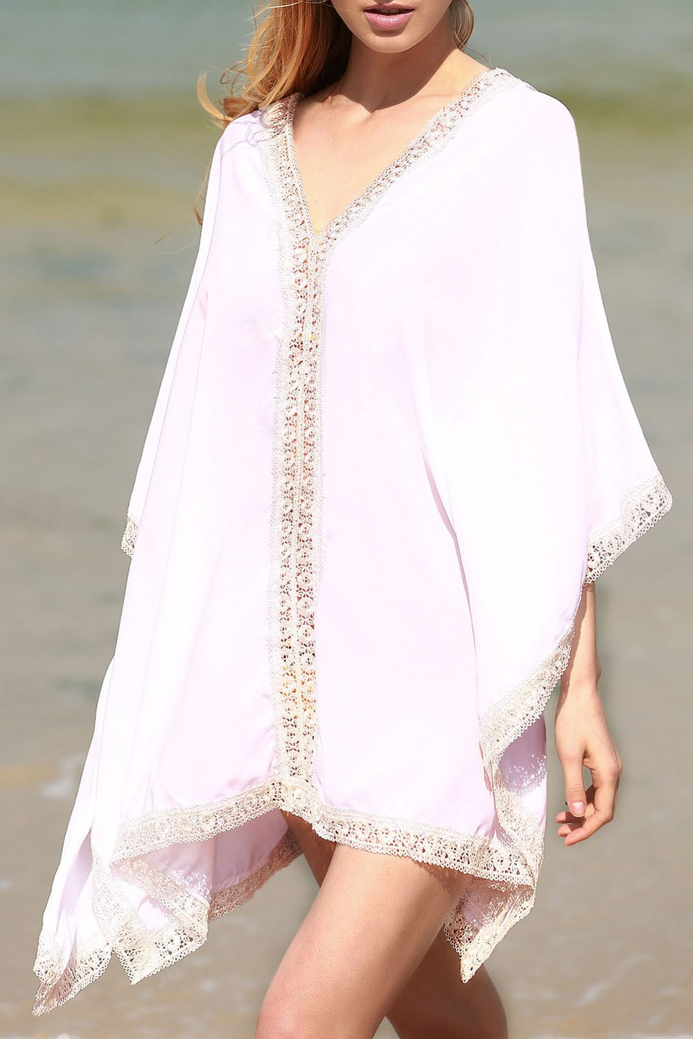 Zaful Solid Color Lace Border V Neck Bat-Wing Sleeve Dress in white
