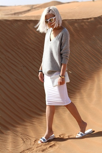 image monkey blogger grey sweater oversized sweater white skirt bodycon skirt birkenstocks edgy