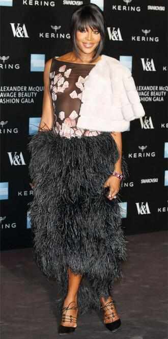 dress feathers naomi campbell gown
