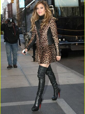 shoes jennifer lopez boots black faux leather round toe platform shoes stilettos 120 mm over the knee boots high heeled