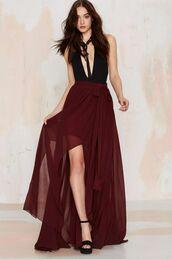 skirt,burgundy red maxi wrap bow skirt