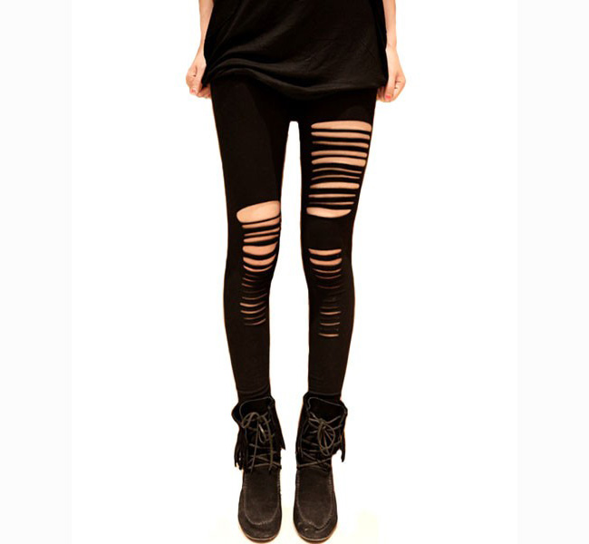*free Ship* Ripped Cotton Leggings on Luulla