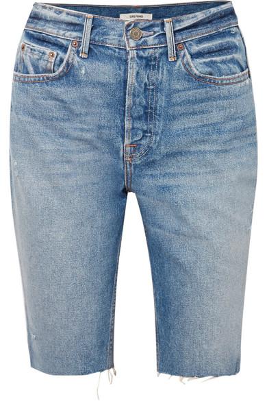 GRLFRND - Beverly frayed denim shorts