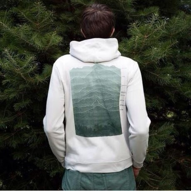 sweater sweatshirt tree green white hoodie