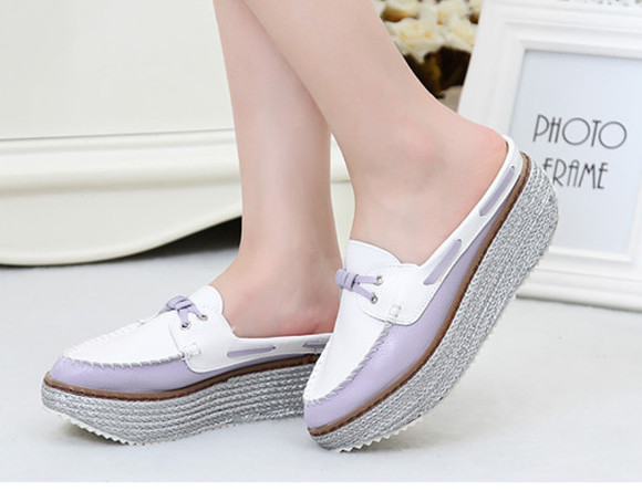 white high heels wedge shoes woman summer