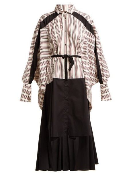 Palmer/harding Palmer//harding - Contrast Stripe Stepped Hem Cotton Shirt Dress - Womens - Red Multi