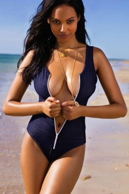 Wholesale Stylish Blue One-piece Zipper Swimsuit