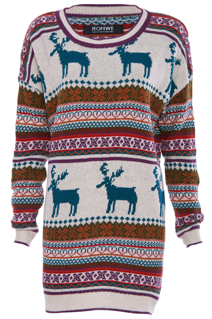 ROMWE | Jacquard Deer Cream Jumper, The Latest Street Fashion