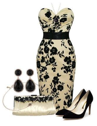 dress floral prom classy black high heels pearl earring clutch purse