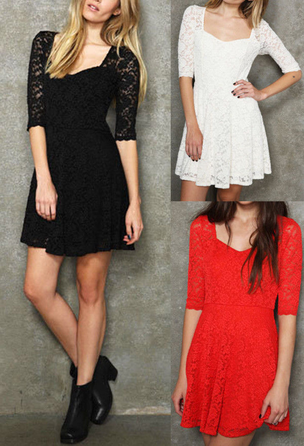 Lace Scoop Neck 3 4 Sleeve Women's Sexy Dress Black White Red Lace Dress New SML | eBay