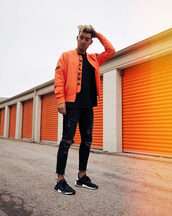 alexander liang,blogger,jacket,t-shirt,jeans,shoes,bomber jacket,menswear,mens bomber jacket,orange jacket,mens sneakers