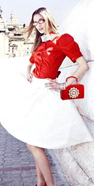 shirt skirt white shirt clothes girly dress girl top summer outfits outfit outfit idea bag handbag clutch red crystal fashion style blouse celebrity style beautiful elegant pinterest casual classy club dress wedding chic blogger sexy