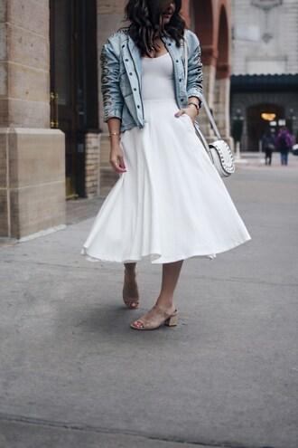 chictalk blogger dress jacket midi skirt white skirt denim jacket shoulder bag mules spring outfits