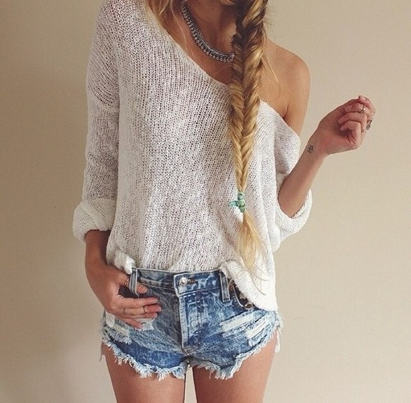 knit sweater lace white summer outfits adorable top shirt winter outfits long sleeve shorts