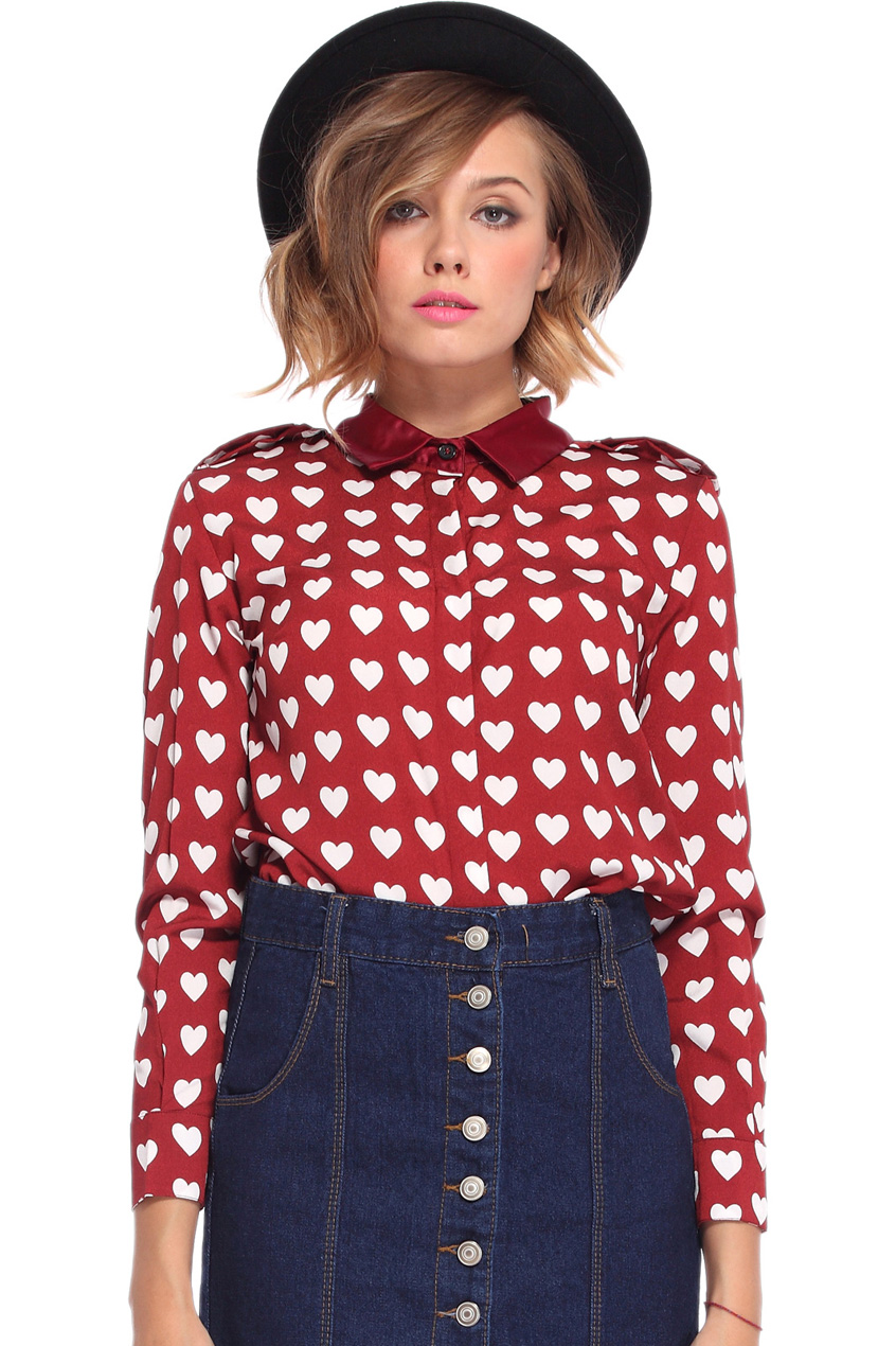 ROMWE | White Heart Pattern Red Chiffon Shirt, The Latest Street Fashion