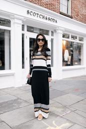 dress,flats,sunglasses,bag,black bag,long dress,lines