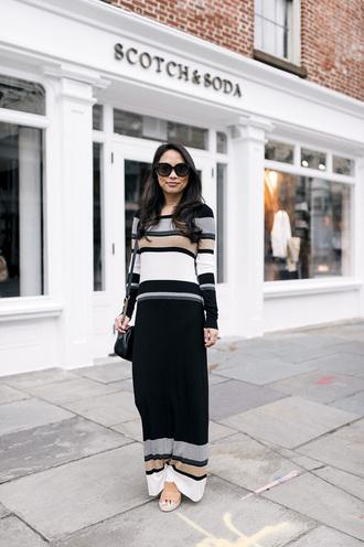 dress flats sunglasses bag black bag long dress lines