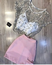 dress,shirt,skirt,top,blouse,embroidered,mesh,see through,pink,two piece dress set,layered,nalu,lace top,see through blouse,white crop tops,pink skirt,malu