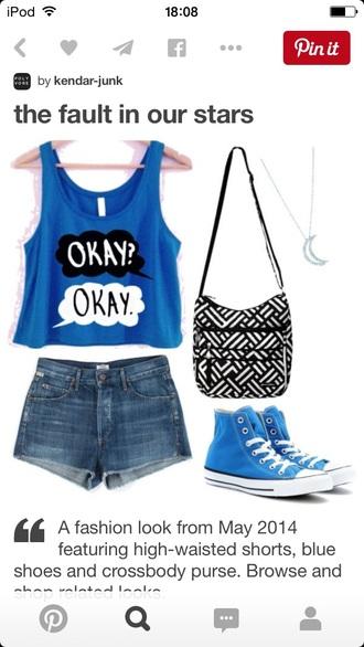 top tfios shirt tfios blue okay? okay. style fashion blue shirt shorts bag jewels shoes