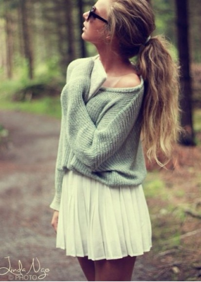 knit sweater grey comfy loose white skirt skirt