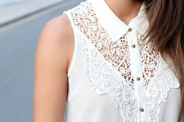 shirt white lace white shirt lace top collared shirts blouse collar knob knitting pattern