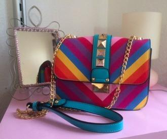 bag colorful zig zag print rainbow crossbody bag