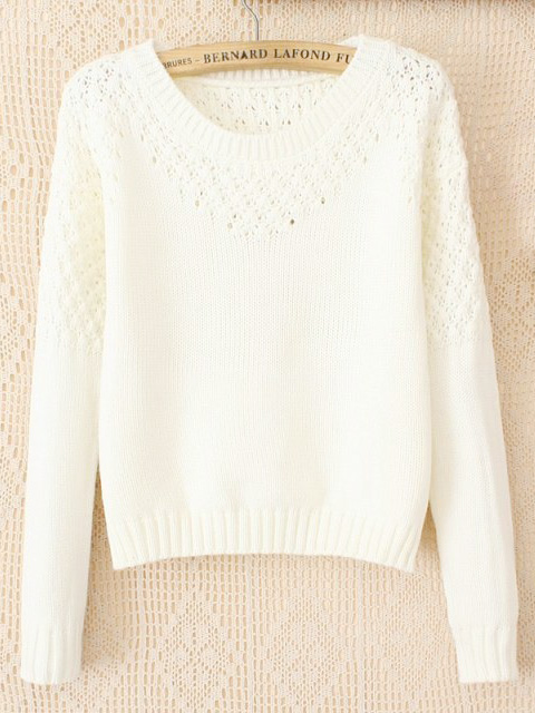 Pure color knitwear white crocheted short pullovers