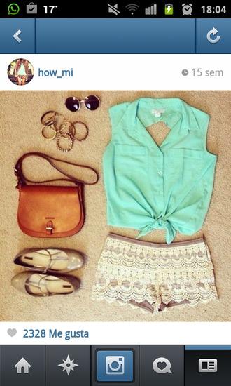 blouse t-shirt shirt crop blue green aqua shorts white bag brown sunglasses gold jewerly shoes nude