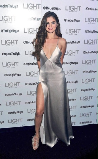 dress silver ring silver dress selena gomez selena gomez dress slit dress