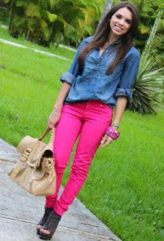 jeans pants pink denim shirt leggings jeggings bag red lime sunday