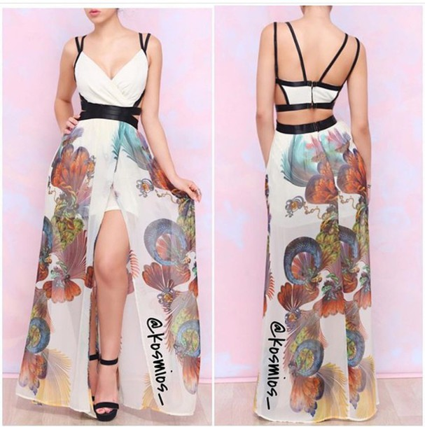 dress white wedding clothes cute sexy flowy sheer long canopy floral maxi dress