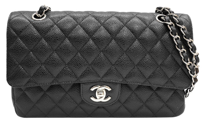 Chanel Black Quilted Caviar Leather Classic 2.55 Double Flap Shoulder Bag | Portero Luxury