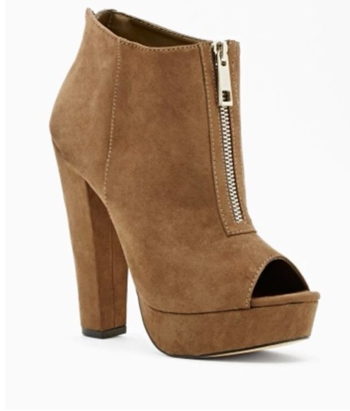 shoes taupe high heel booties