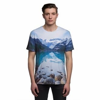 t-shirt menswear nature nature print lake all over prtriint t-sh full print t-shirt mens t-shirt printed t-shirt