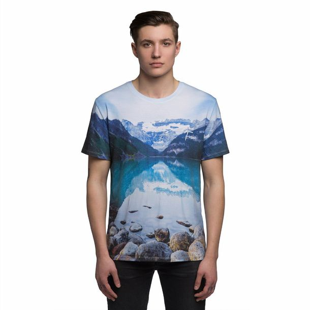 T shirt menswear nature nature print lake all over for Get t shirt printed