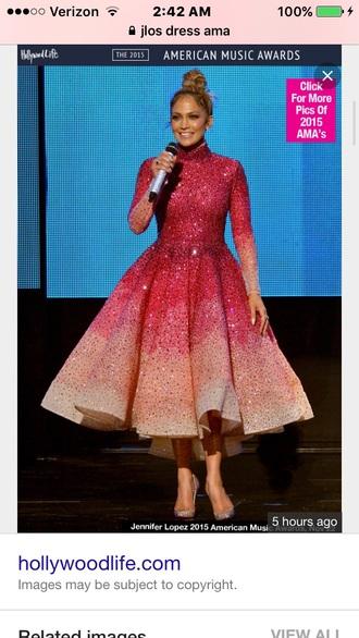 dress pink dress sparkle jennifer lopez ombre dress amas 2015