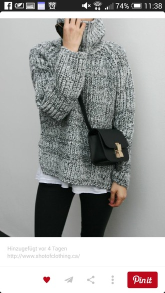 sweater oversized sweater grey gray sweater knitwear knitted sweater