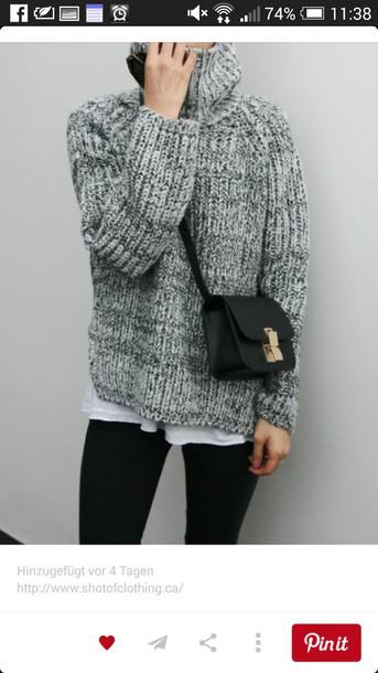 sweater oversized sweater grey grey sweater knitwear knitted sweater turtleneck sweater