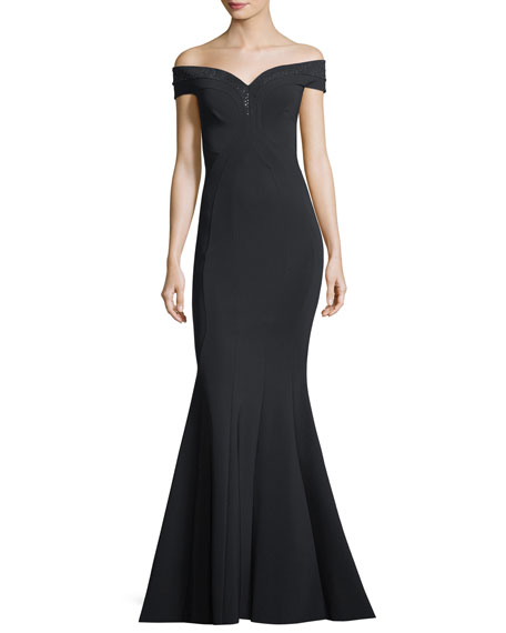 Zac Posen Puff-Sleeve Silk Mermaid Gown | Neiman Marcus