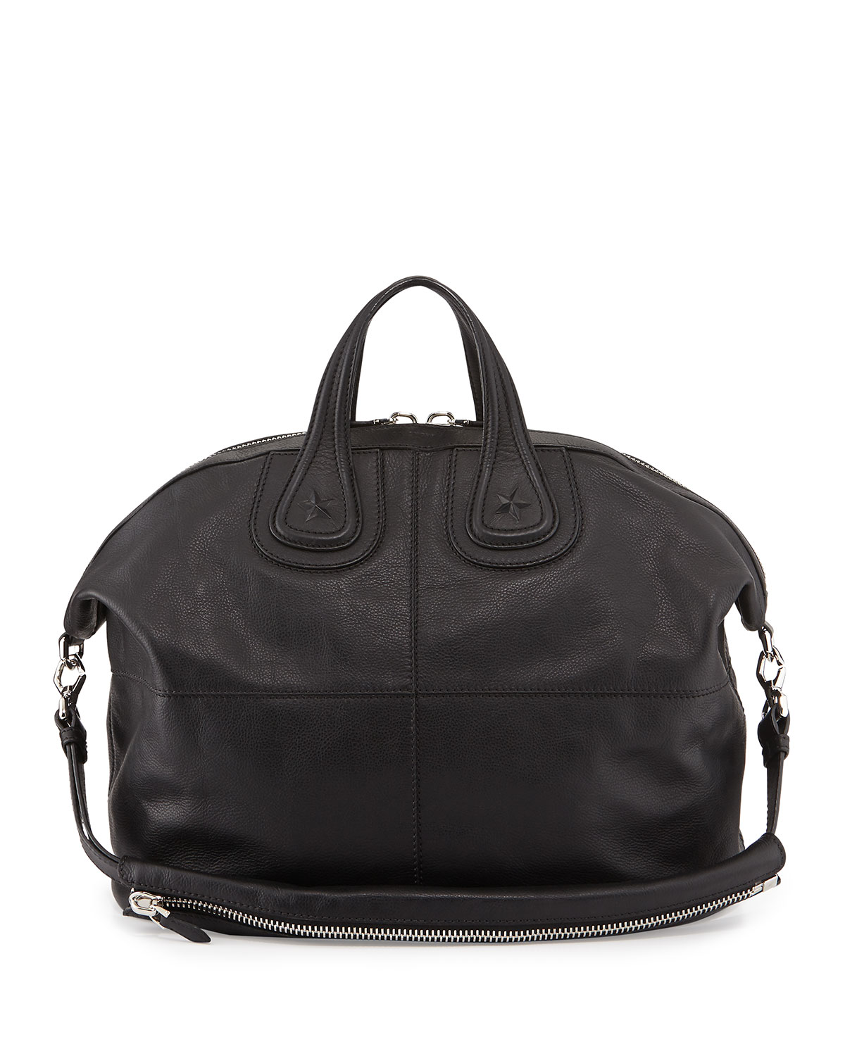 Givenchy Nightingale Mens Star-Embossed Satchel Bag, Black